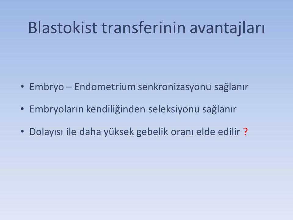 Blastokist transferinin avantajları Embryo – Endometrium senkronizasyonu sağlanır Embryoların kendiliğinden seleksiyonu sağlanır Dolayısı ile daha yük