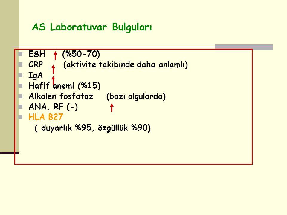 AS Laboratuvar Bulguları ESH (%50-70) CRP (aktivite takibinde daha anlamlı) IgA Hafif anemi (%15) Alkalen fosfataz (bazı olgularda) ANA, RF (-) HLA B27 ( duyarlık %95, özgüllük %90)
