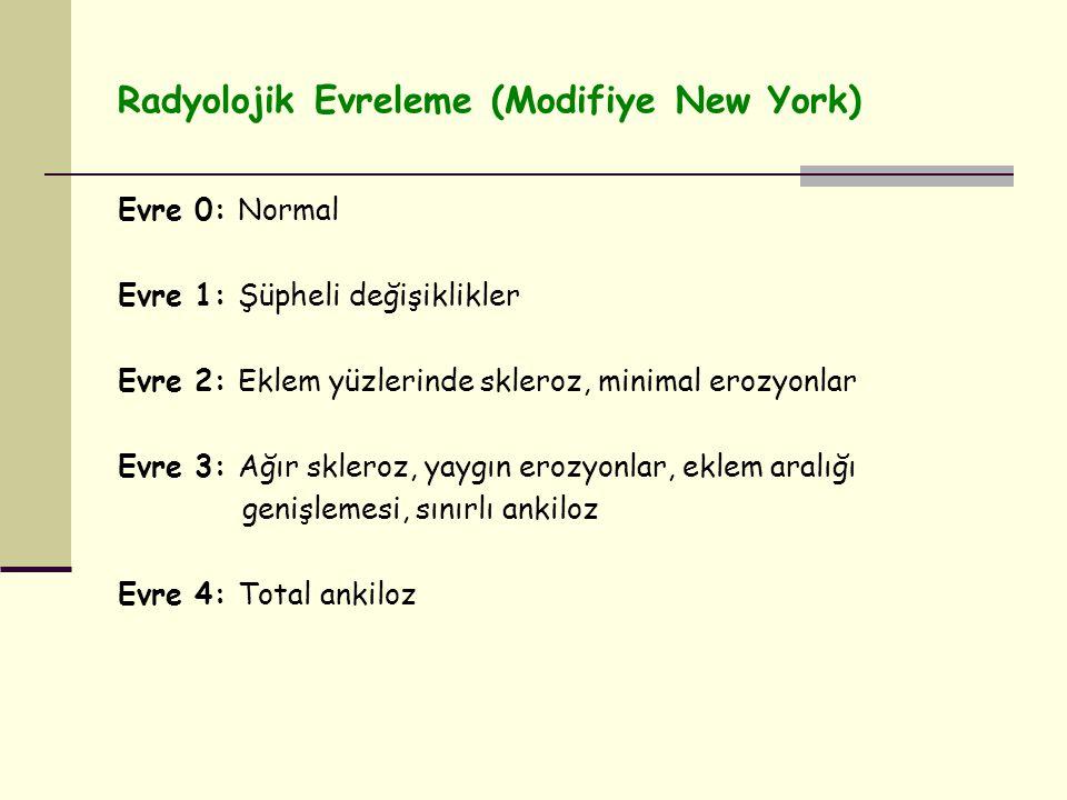 Radyolojik Evreleme (Modifiye New York) Evre 0: Normal Evre 1: Şüpheli değişiklikler Evre 2: Eklem yüzlerinde skleroz, minimal erozyonlar Evre 3: Ağır skleroz, yaygın erozyonlar, eklem aralığı genişlemesi, sınırlı ankiloz Evre 4: Total ankiloz