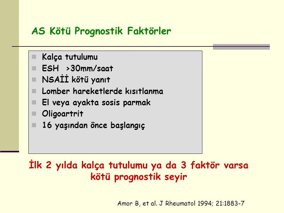 AS Kötü Prognostik Faktörler Kalça tutulumu ESH >30mm/saat NSAİİ kötü yanıt Lomber hareketlerde kısıtlanma El veya ayakta sosis parmak Oligoartrit 16 yaşından önce başlangıç İlk 2 yılda kalça tutulumu ya da 3 faktör varsa kötü prognostik seyir Amor B, et al.