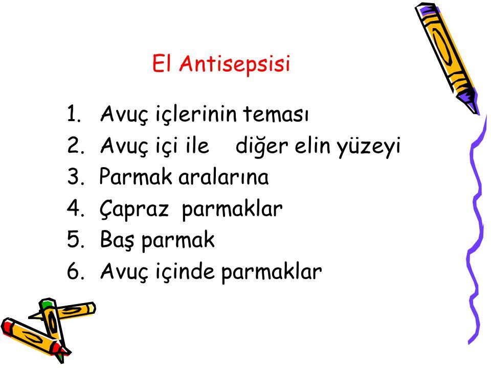 El Antisepsisi 1.Avuç içlerinin teması 2.Avuç içi ile diğer elin yüzeyi 3.Parmak aralarına 4.Çapraz parmaklar 5.Baş parmak 6.Avuç içinde parmaklar