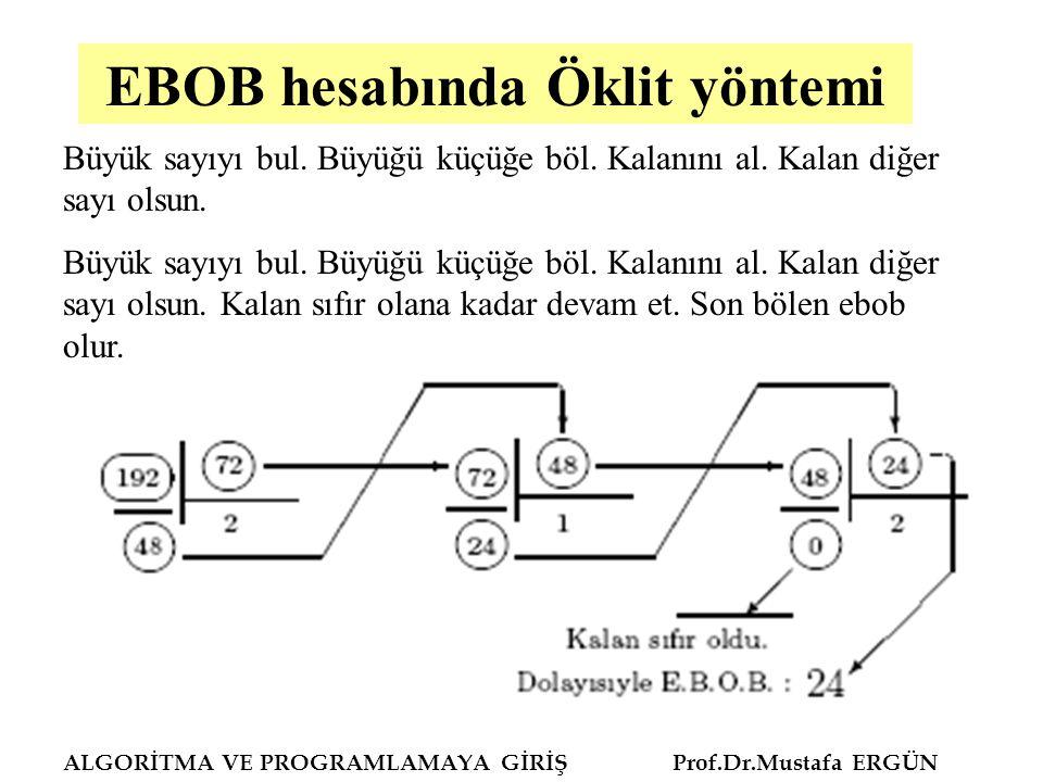 ALGORİTMA VE PROGRAMLAMAYA GİRİŞ Prof.Dr.Mustafa ERGÜN EBOB hesabında Öklit yöntemi Büyük sayıyı bul. Büyüğü küçüğe böl. Kalanını al. Kalan diğer sayı