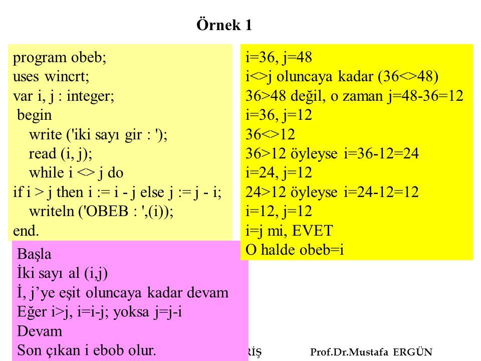ALGORİTMA VE PROGRAMLAMAYA GİRİŞ Prof.Dr.Mustafa ERGÜN program obeb; uses wincrt; var i, j : integer; begin write ('iki sayı gir : '); read (i, j); wh