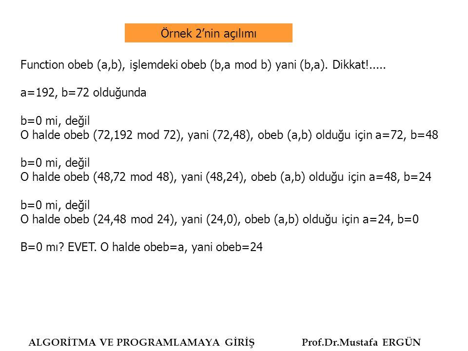 ALGORİTMA VE PROGRAMLAMAYA GİRİŞ Prof.Dr.Mustafa ERGÜN program obeb3; uses wincrt; var m,n,r : integer; function obeb (m, n: integer): integer; begin r := m mod n; if r = 0 then obeb := n else obeb := obeb(n, r) end; begin write ( İki sayı giriniz : ); read (m,n); write (m, ve ,n, sayılarında Obeb : ,obeb(m,n)) end.