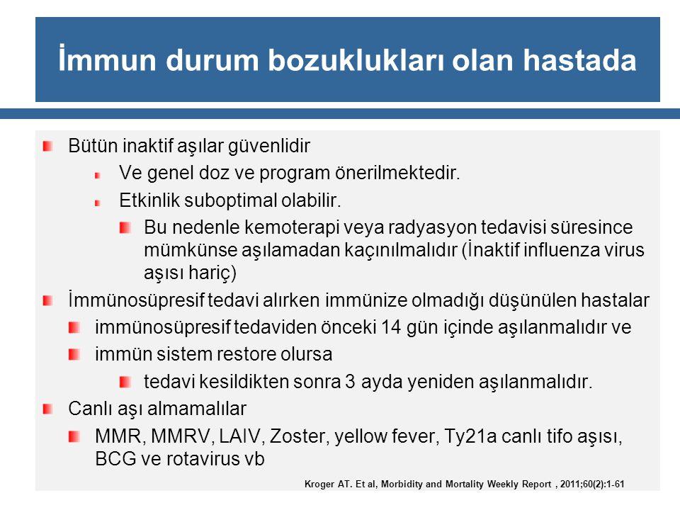 İmmun durum bozuklukları olan hastada Bütün inaktif aşılar güvenlidir Ve genel doz ve program önerilmektedir. Etkinlik suboptimal olabilir. Bu nedenle