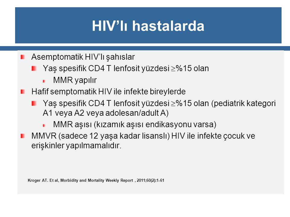 HIV'lı hastalarda Asemptomatik HIV'lı şahıslar Yaş spesifik CD4 T lenfosit yüzdesi  %15 olan MMR yapılır Hafif semptomatik HIV ile infekte bireylerde