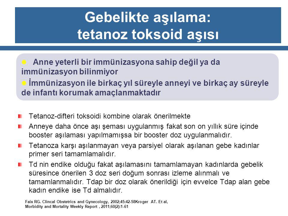 Gebelikte aşılama: tetanoz toksoid aşısı Tetanoz-difteri toksoidi kombine olarak önerilmekte Anneye daha önce aşı şeması uygulanmış fakat son on yıllı