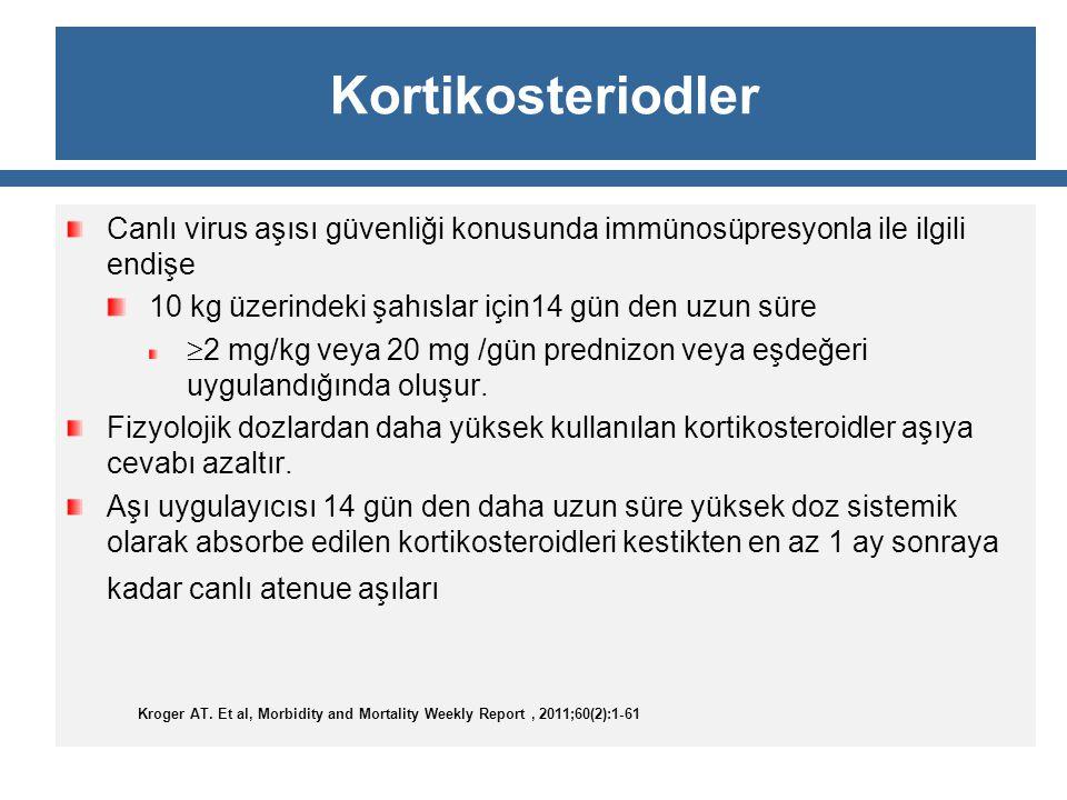 Kortikosteriodler Canlı virus aşısı güvenliği konusunda immünosüpresyonla ile ilgili endişe 10 kg üzerindeki şahıslar için14 gün den uzun süre  2 mg/
