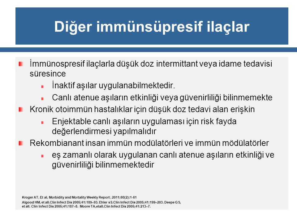 Diğer immünsüpresif ilaçlar İmmünospresif ilaçlarla düşük doz intermittant veya idame tedavisi süresince İnaktif aşılar uygulanabilmektedir. Canlı ate