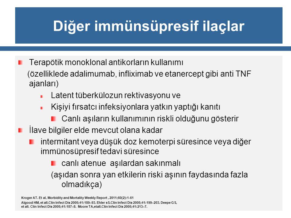 Diğer immünsüpresif ilaçlar Terapötik monoklonal antikorların kullanımı (özelliklede adalimumab, infliximab ve etanercept gibi anti TNF ajanları) Late
