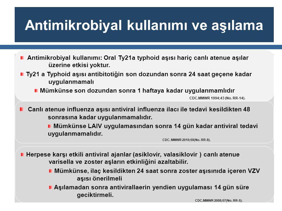 Antimikrobiyal kullanımı ve aşılama Antimikrobiyal kullanımı: Oral Ty21a typhoid aşısı hariç canlı atenue aşılar üzerine etkisi yoktur. Ty21 a Typhoid