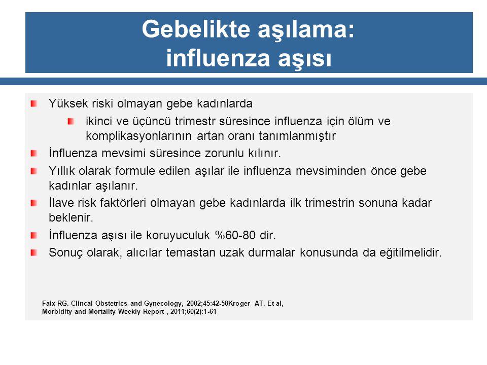 Gebelikte aşılama: influenza aşısı Yüksek riski olmayan gebe kadınlarda ikinci ve üçüncü trimestr süresince influenza için ölüm ve komplikasyonlarının
