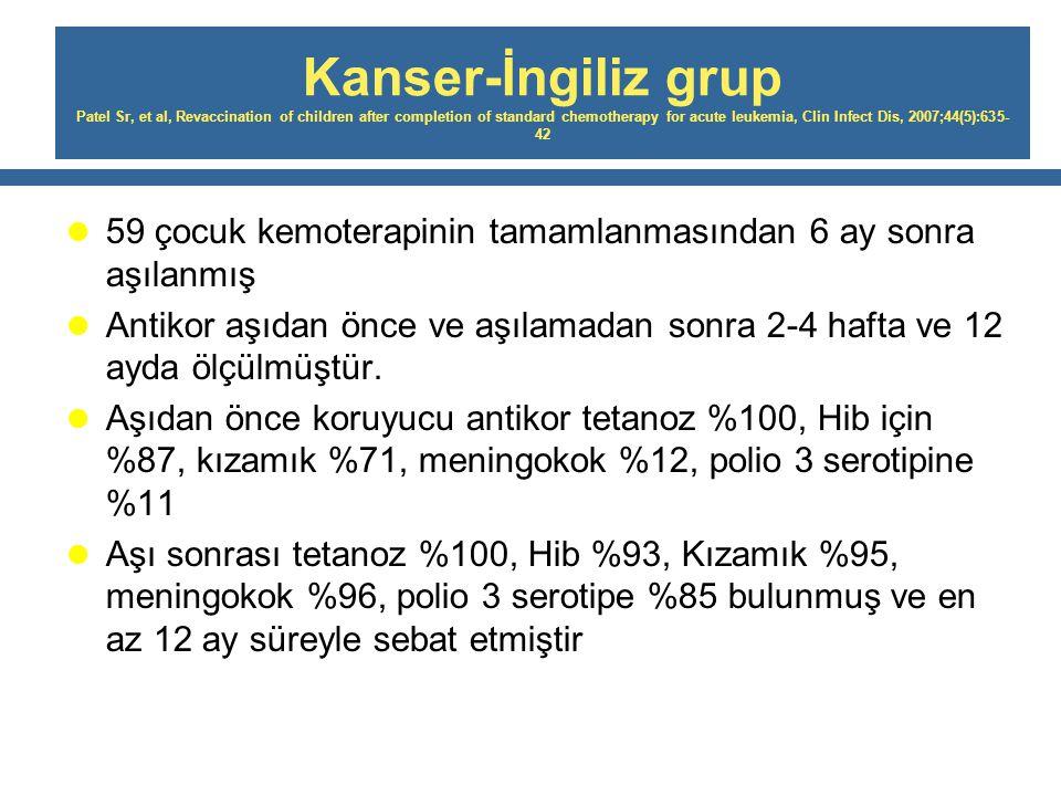 Kanser-İngiliz grup Patel Sr, et al, Revaccination of children after completion of standard chemotherapy for acute leukemia, Clin Infect Dis, 2007;44(