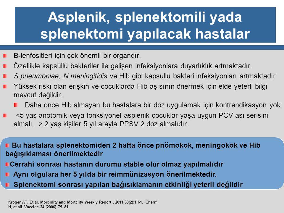 Asplenik, splenektomili yada splenektomi yapılacak hastalar B-lenfositleri için çok önemli bir organdır. Özellikle kapsüllü bakteriler ile gelişen inf