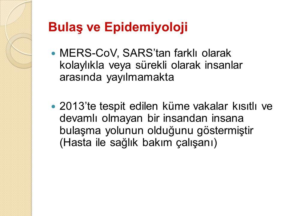 Bulaş ve Epidemiyoloji MERS-CoV, SARS'tan farklı olarak kolaylıkla veya sürekli olarak insanlar arasında yayılmamakta 2013'te tespit edilen küme vakal