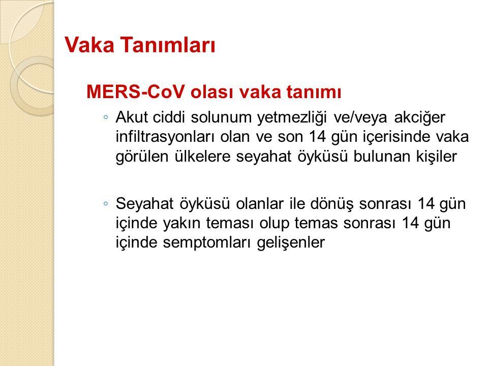 Vaka Tanımları MERS-CoV olası vaka tanımı ◦ Akut ciddi solunum yetmezliği ve/veya akciğer infiltrasyonları olan ve son 14 gün içerisinde vaka görülen