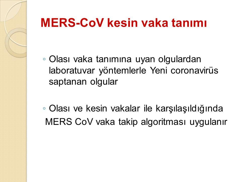 MERS-CoV kesin vaka tanımı ◦ Olası vaka tanımına uyan olgulardan laboratuvar yöntemlerle Yeni coronavirüs saptanan olgular ◦ Olası ve kesin vakalar il