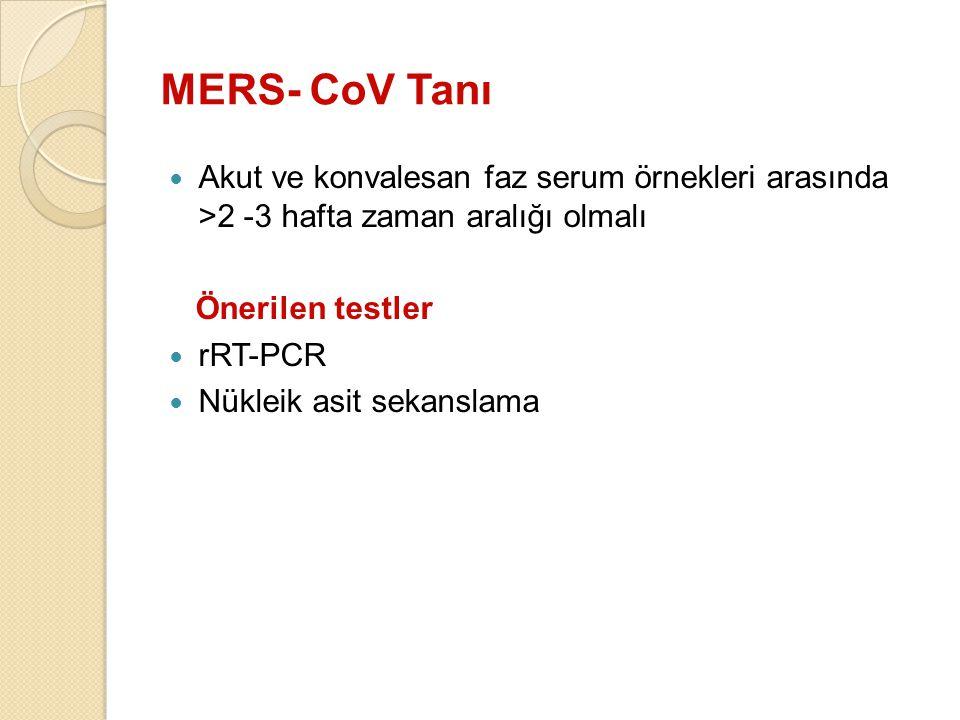 Akut ve konvalesan faz serum örnekleri arasında >2 -3 hafta zaman aralığı olmalı Önerilen testler rRT-PCR Nükleik asit sekanslama