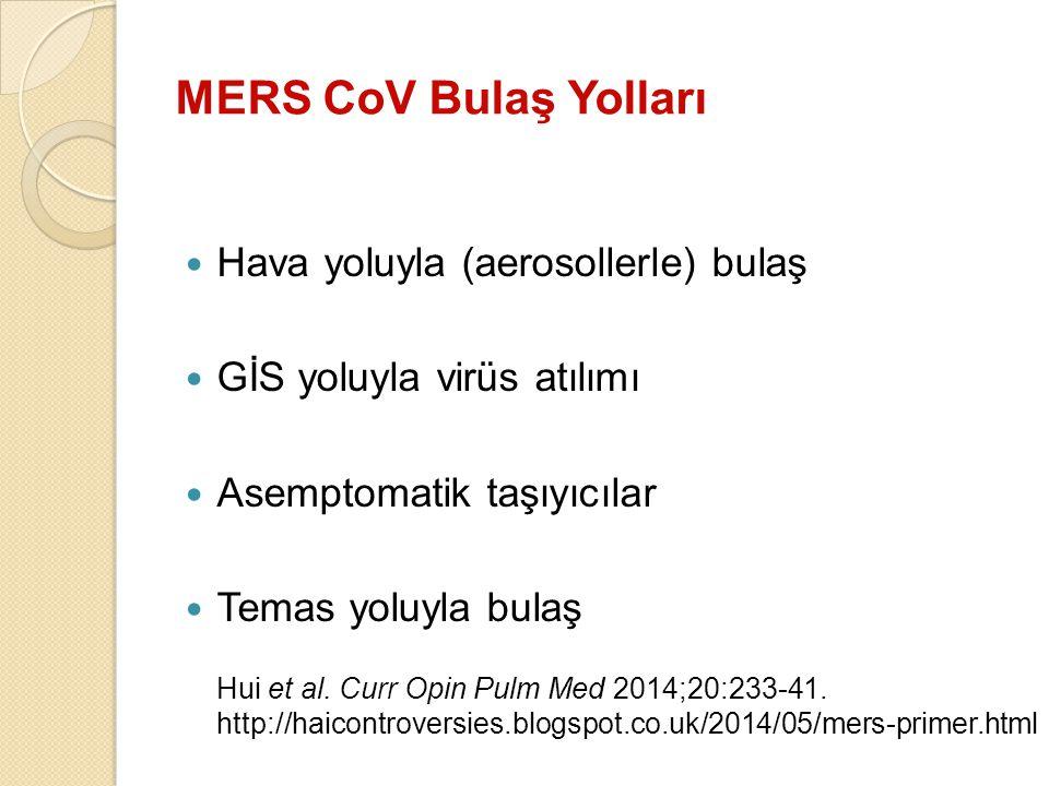MERS CoV Bulaş Yolları Hava yoluyla (aerosollerle) bulaş GİS yoluyla virüs atılımı Asemptomatik taşıyıcılar Temas yoluyla bulaş Hui et al. Curr Opin P