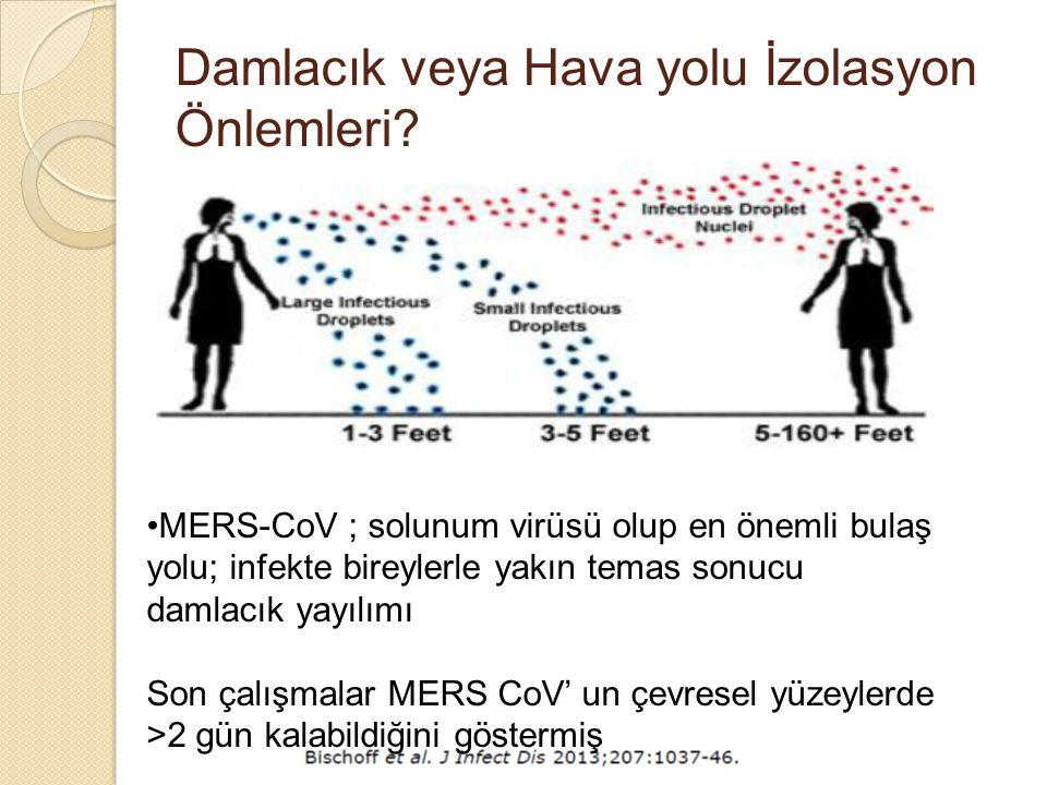 Damlacık veya Hava yolu İzolasyon Önlemleri? MERS-CoV ; solunum virüsü olup en önemli bulaş yolu; infekte bireylerle yakın temas sonucu damlacık yayıl