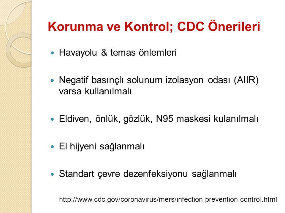 Korunma ve Kontrol; CDC Önerileri Havayolu & temas önlemleri Negatif basınçlı solunum izolasyon odası (AIIR) varsa kullanılmalı Eldiven, önlük, gözlük