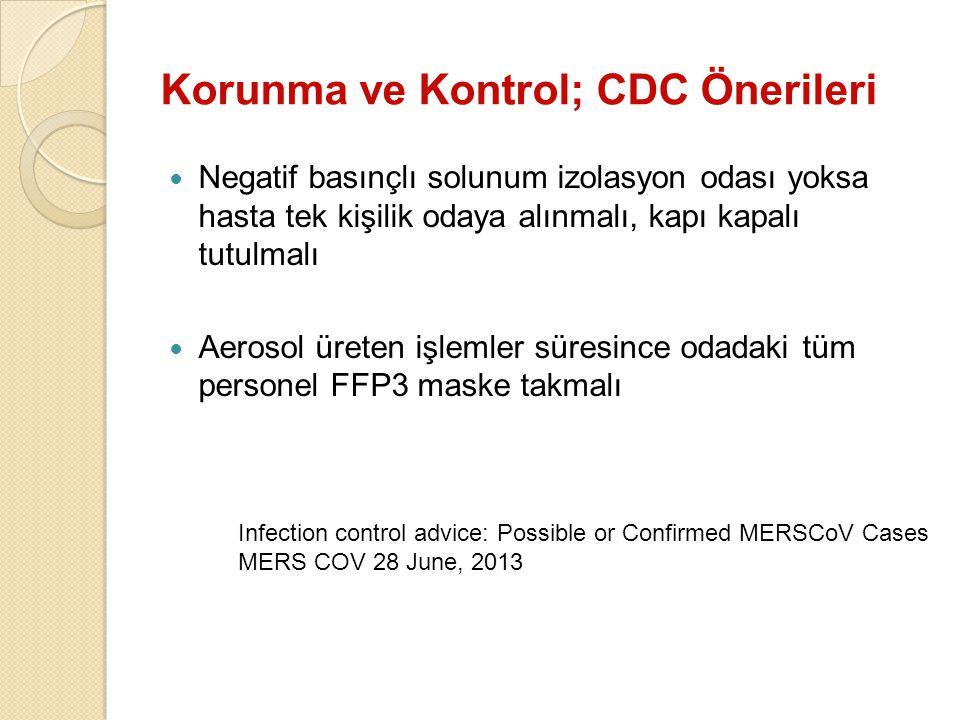 Korunma ve Kontrol; CDC Önerileri Negatif basınçlı solunum izolasyon odası yoksa hasta tek kişilik odaya alınmalı, kapı kapalı tutulmalı Aerosol ürete