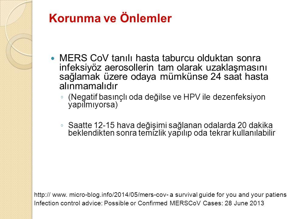 Korunma ve Önlemler MERS CoV tanılı hasta taburcu olduktan sonra infeksiyöz aerosollerin tam olarak uzaklaşmasını sağlamak üzere odaya mümkünse 24 saa