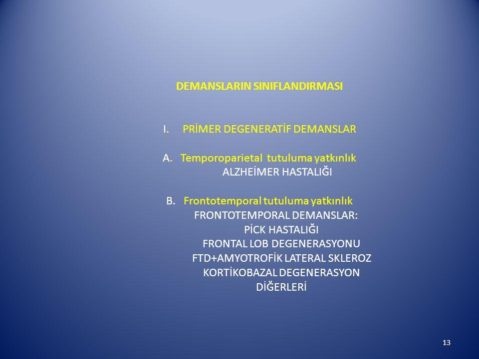 DEMANSLARIN SINIFLANDIRMASI I.PRİMER DEGENERATİF DEMANSLAR A.