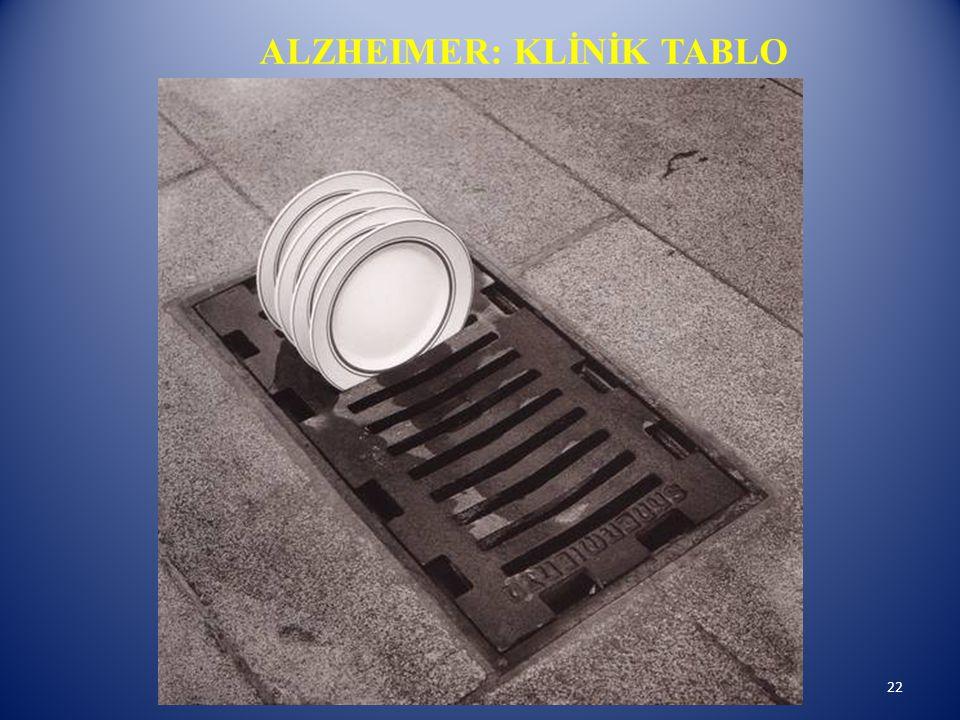 ALZHEIMER: KLİNİK TABLO 22