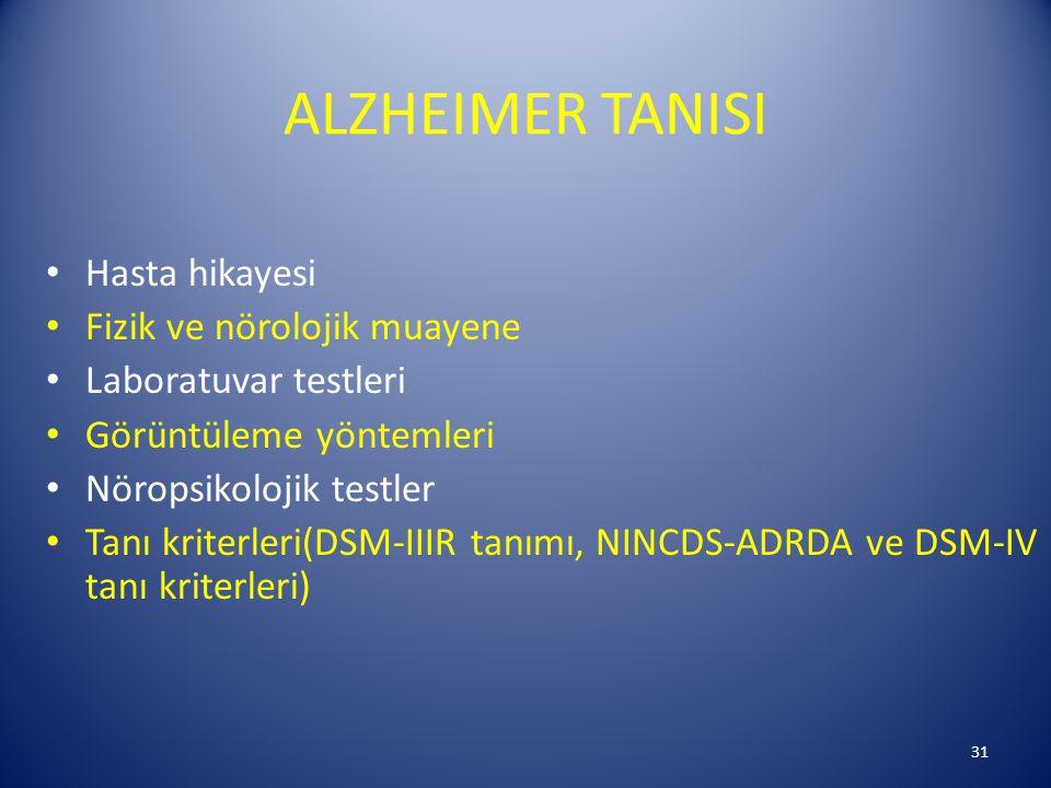 ALZHEIMER TANISI Hasta hikayesi Fizik ve nörolojik muayene Laboratuvar testleri Görüntüleme yöntemleri Nöropsikolojik testler Tanı kriterleri(DSM-IIIR tanımı, NINCDS-ADRDA ve DSM-IV tanı kriterleri) 31