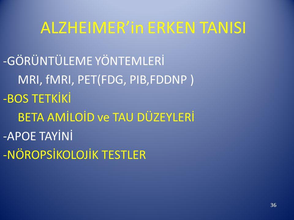 36 ALZHEIMER'in ERKEN TANISI -GÖRÜNTÜLEME YÖNTEMLERİ MRI, fMRI, PET(FDG, PIB,FDDNP ) -BOS TETKİKİ BETA AMİLOİD ve TAU DÜZEYLERİ -APOE TAYİNİ -NÖROPSİKOLOJİK TESTLER