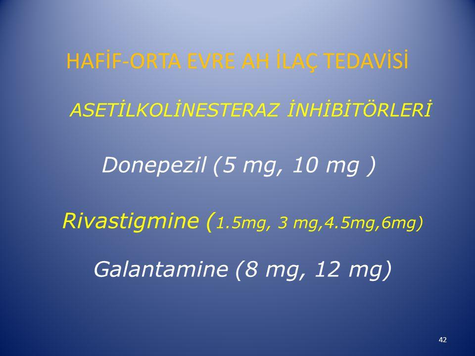 HAFİF-ORTA EVRE AH İLAÇ TEDAVİSİ ASETİLKOLİNESTERAZ İNHİBİTÖRLERİ Donepezil (5 mg, 10 mg ) Rivastigmine ( 1.5mg, 3 mg,4.5mg,6mg) Galantamine (8 mg, 12 mg) 42