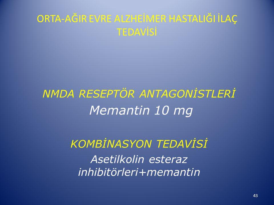 ORTA-AĞIR EVRE ALZHEİMER HASTALIĞI İLAÇ TEDAVİSİ NMDA RESEPTÖR ANTAGONİSTLERİ Memantin 10 mg KOMBİNASYON TEDAVİSİ Asetilkolin esteraz inhibitörleri+memantin 43
