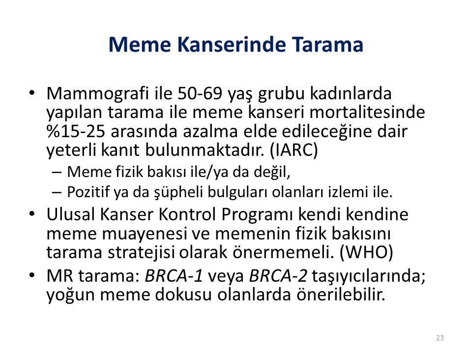 Meme Kanserinde Tarama Mammografi ile 50-69 yaş grubu kadınlarda yapılan tarama ile meme kanseri mortalitesinde %15-25 arasında azalma elde edileceğin