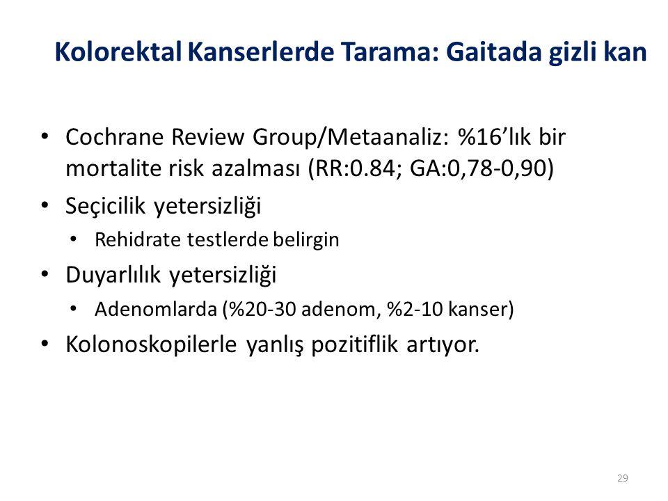 Kolorektal Kanserlerde Tarama: Gaitada gizli kan Cochrane Review Group/Metaanaliz: %16'lık bir mortalite risk azalması (RR:0.84; GA:0,78-0,90) Seçicil