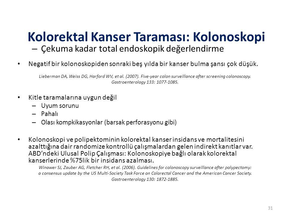 – Çekuma kadar total endoskopik değerlendirme Negatif bir kolonoskopiden sonraki beş yılda bir kanser bulma şansı çok düşük. Lieberman DA, Weiss DG, H
