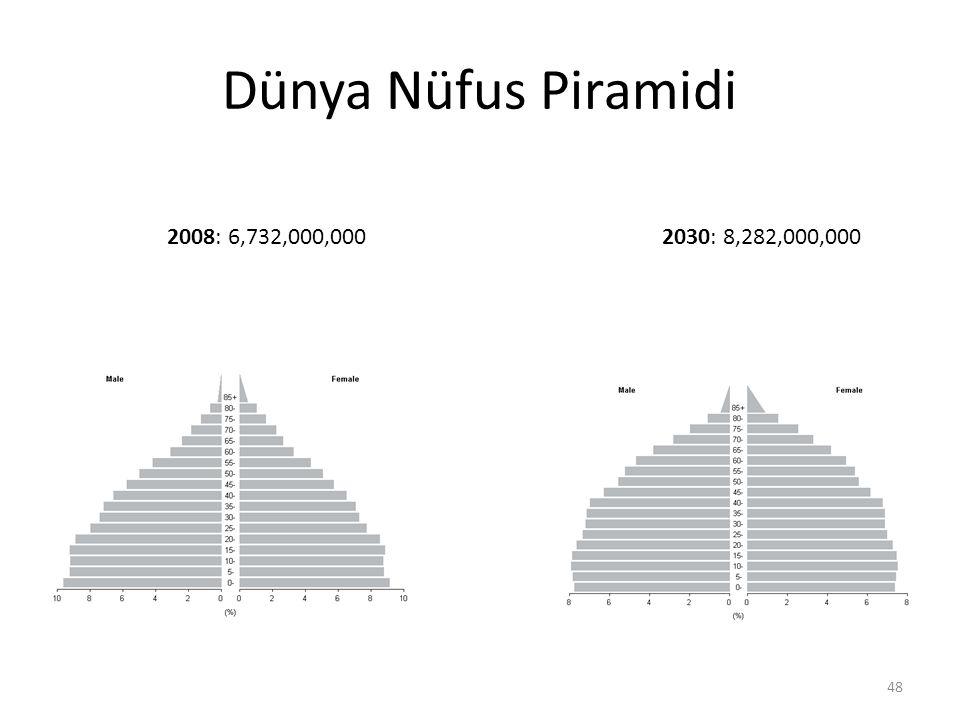 Dünya Nüfus Piramidi 2008: 6,732,000,0002030: 8,282,000,000 48