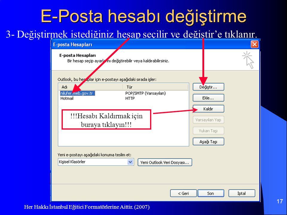 Her Hakkı İstanbul Eğitici Formatörlerine Aittir. (2007) 17 E-Posta hesabı değiştirme 3- Değiştirmek istediğiniz hesap seçilir ve değiştir'e tıklanır.