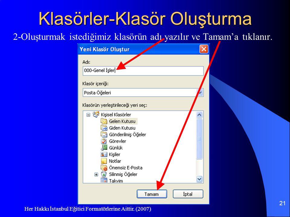 Her Hakkı İstanbul Eğitici Formatörlerine Aittir. (2007) 21 Klasörler-Klasör Oluşturma 2-Oluşturmak istediğimiz klasörün adı yazılır ve Tamam'a tıklan