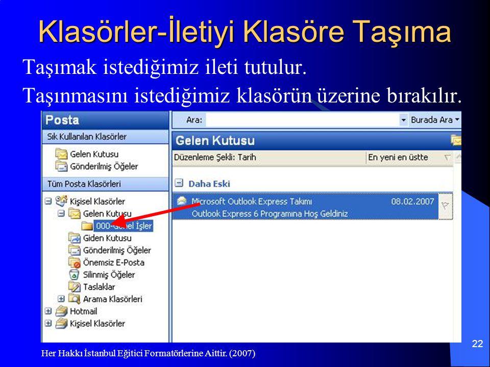 Her Hakkı İstanbul Eğitici Formatörlerine Aittir. (2007) 22 Klasörler-İletiyi Klasöre Taşıma Taşımak istediğimiz ileti tutulur. Taşınmasını istediğimi
