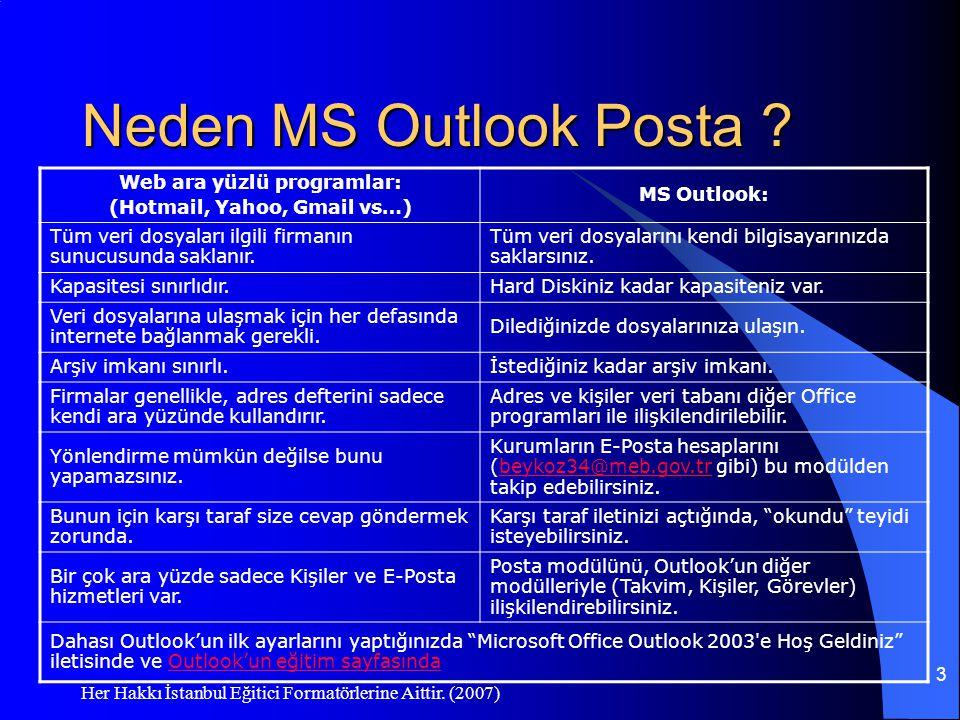 Her Hakkı İstanbul Eğitici Formatörlerine Aittir. (2007) 3 Neden MS Outlook Posta ? Web ara yüzlü programlar: (Hotmail, Yahoo, Gmail vs…) MS Outlook: