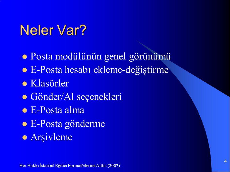 Her Hakkı İstanbul Eğitici Formatörlerine Aittir. (2007) 4 Neler Var? Posta modülünün genel görünümü E-Posta hesabı ekleme-değiştirme Klasörler Gönder