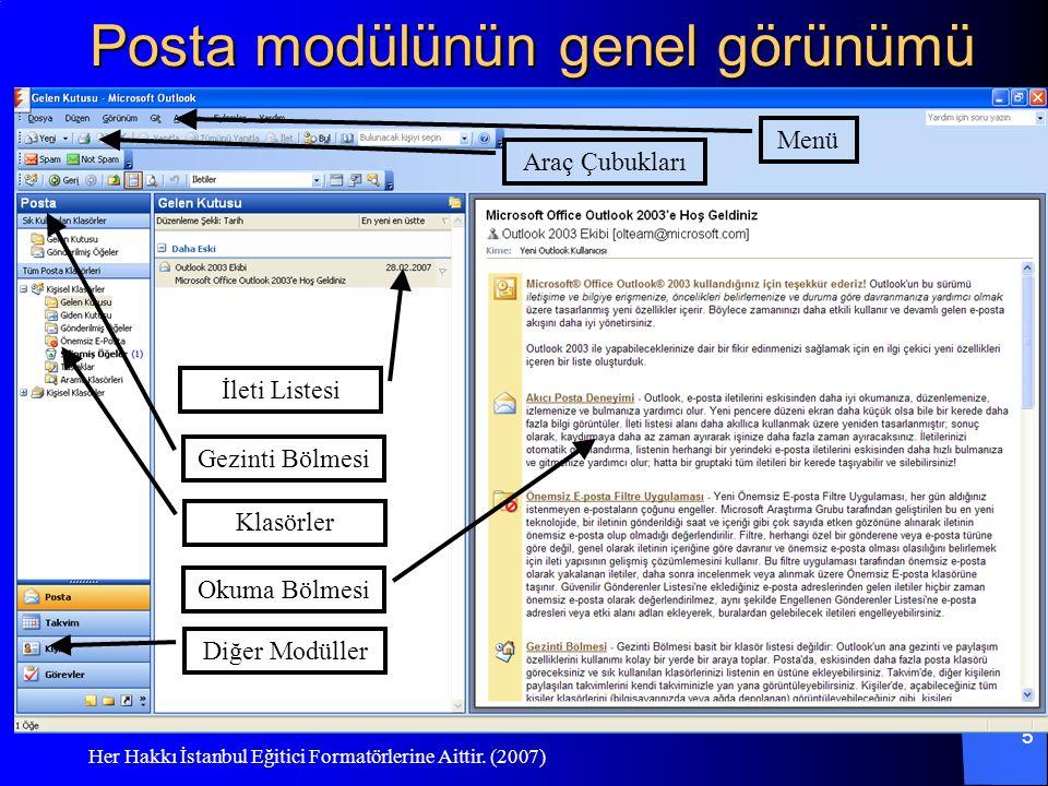 Her Hakkı İstanbul Eğitici Formatörlerine Aittir. (2007) 5 Posta modülünün genel görünümü Menü Araç Çubukları Gezinti Bölmesi Klasörler Diğer Modüller