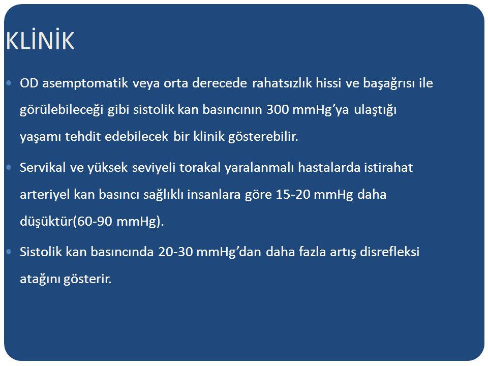 KLİNİK OD asemptomatik veya orta derecede rahatsızlık hissi ve başağrısı ile görülebileceği gibi sistolik kan basıncının 300 mmHg'ya ulaştığı yaşamı tehdit edebilecek bir klinik gösterebilir.