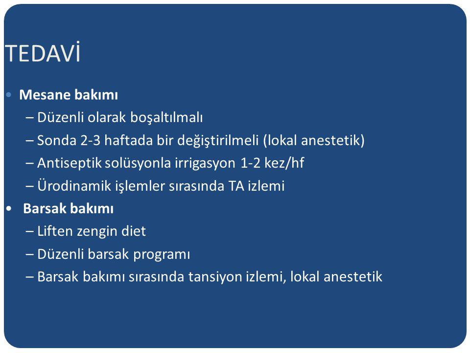 TEDAVİ Mesane bakımı – Düzenli olarak boşaltılmalı – Sonda 2-3 haftada bir değiştirilmeli (lokal anestetik) – Antiseptik solüsyonla irrigasyon 1-2 kez/hf – Ürodinamik işlemler sırasında TA izlemi Barsak bakımı – Liften zengin diet – Düzenli barsak programı – Barsak bakımı sırasında tansiyon izlemi, lokal anestetik