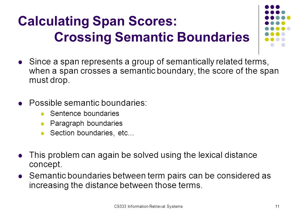CS533 Information Retrieval Systems11 Calculating Span Scores: Crossing Semantic Boundaries Since a span represents a group of semantically related te