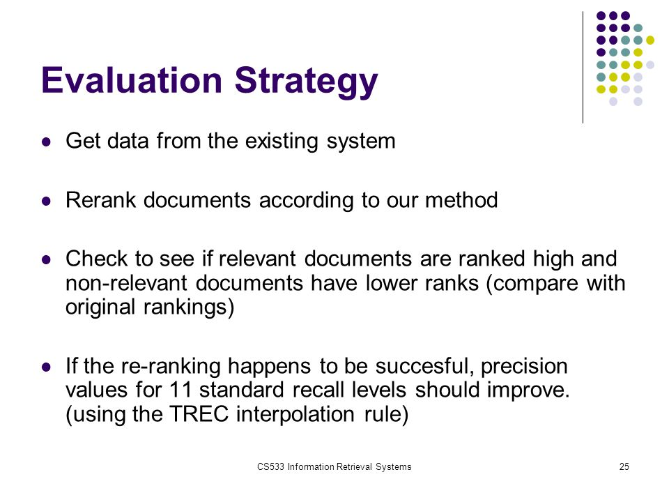 CS533 Information Retrieval Systems25 Evaluation Strategy Get data from the existing system Rerank documents according to our method Check to see if relevant documents are ranked high and non-relevant documents have lower ranks (compare with original rankings) If the re-ranking happens to be succesful, precision values for 11 standard recall levels should improve.