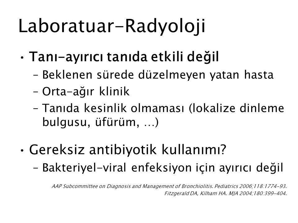 Laboratuar-Radyoloji Tanı-ayırıcı tanıda etkili değil –Beklenen sürede düzelmeyen yatan hasta –Orta-ağır klinik –Tanıda kesinlik olmaması (lokalize di