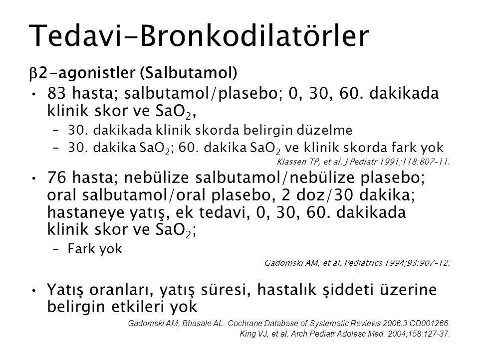 Tedavi-Bronkodilatörler  2-agonistler (Salbutamol) 83 hasta; salbutamol/plasebo; 0, 30, 60. dakikada klinik skor ve SaO 2, –30. dakikada klinik skord