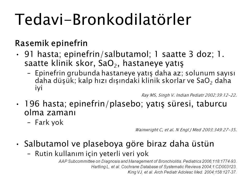 Tedavi-Bronkodilatörler Rasemik epinefrin 91 hasta; epinefrin/salbutamol; 1 saatte 3 doz; 1. saatte klinik skor, SaO 2, hastaneye yatış –Epinefrin gru